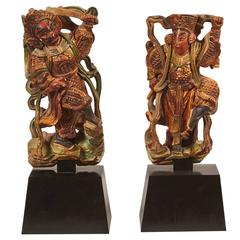 Pair of 20th Century Taiwanese Deities on Stand