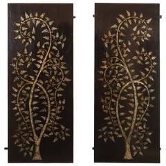"Pair of Rosewood Inlaid ""Tree of Life"" Panels"