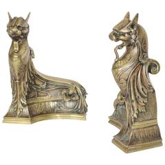 Pair of Signed 19th Century Art Nouveau Bronze French Ormolu Chenets, Andirons