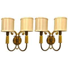 Pair of French Art Deco Gilt and Patinated Bronze Wall Sconces