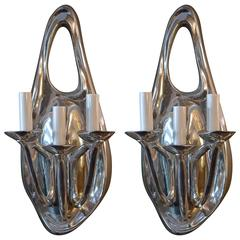 Pair of Polished Aluminium Sconces