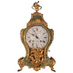 19th Century Green Tortoise Shell Gilt Clock