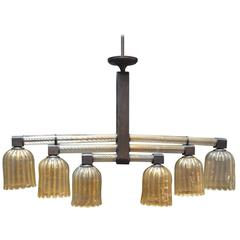Murano Glass and Patinated Bronze Chandelier