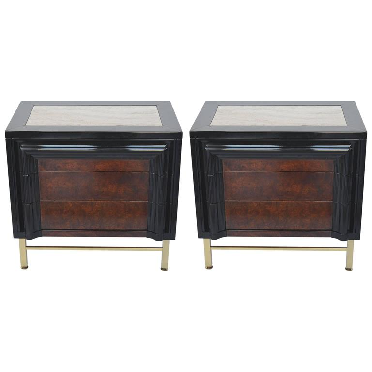 Pair of Italian Side Tables with Travertine Tops