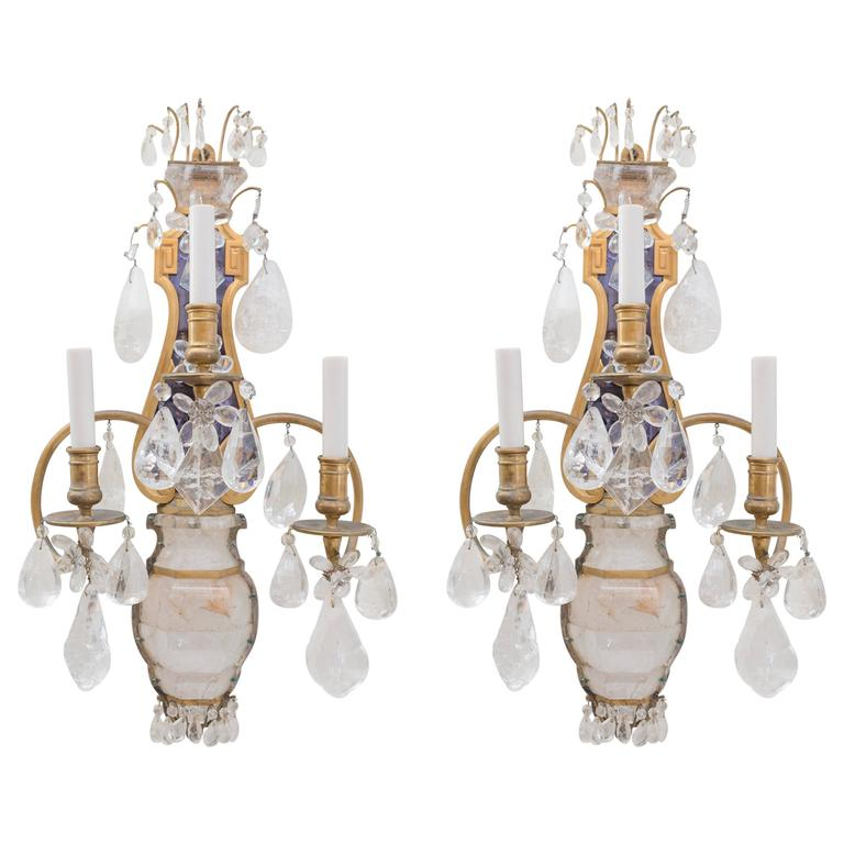 E.F.Caldwell Grand Rock Crystal Sconces 1