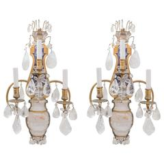 E.F.Caldwell Grand Rock Crystal Sconces