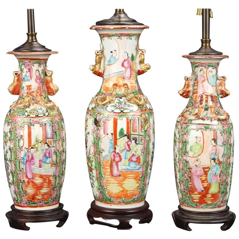 Three 19th Century Vases Mounted as Lamps For Sale