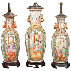 Three 19th Century Vases Mounted as Lamps.  We will divide the pair.