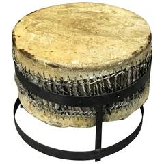 African Drum Table with Forged Iron Pedestal Base