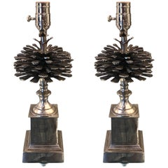 Pair of Silvered Bronze Pinecone Motif Lamps, Raised on Square Lucite Bases