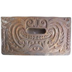 Cast Iron Art Nouveau Stove Door Piece on Base