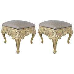 Pair of French Giltwood Benches with Leather Upholstery