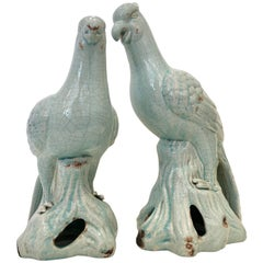 21st Century Pair Of Robins Egg Blue Ceramic Glaze Bird Sculptures