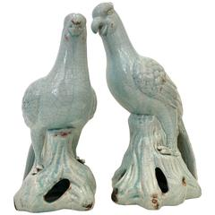 Contemporary Pair Of Robins Egg Blue Ceramic Glaze Bird Sculptures