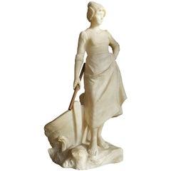 Large Antique and Unique Alabaster Sculpture by Julius Paul Schmidt-Felling