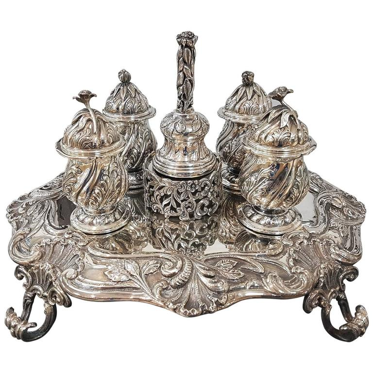 20th century italian sterling silver inkstand baroque revival made in italy