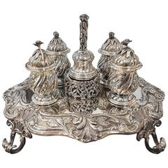 20th Century Italian Sterling Silver Inkstand, baroque revival made in Italy