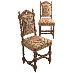19th Century Pair of Antique Hall Chairs, Victorian, Oak Needlepoint, circa 1870