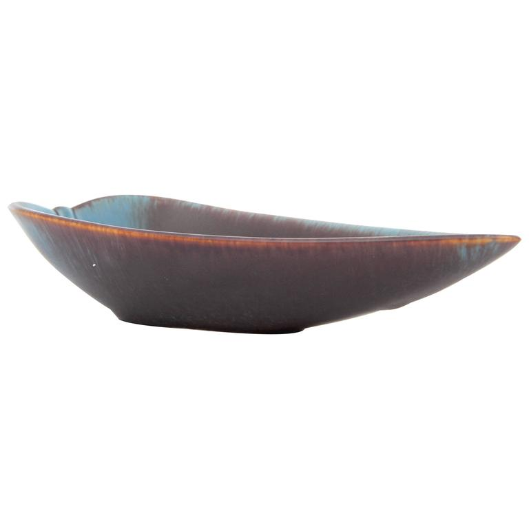 Rörstrand Brown and Blue Haresfur Leaf-Shaped Tray by Gunnar Nylund For Sale