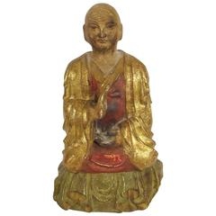 Late 18th Century Chinese Bodhisattva Sculpture in Carved and Painted Giltwood