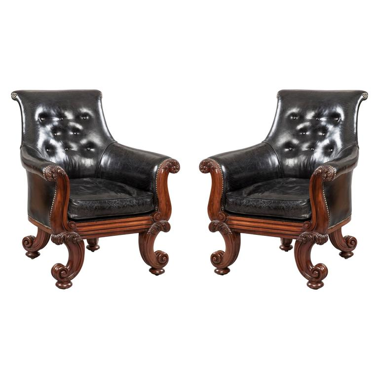 "Pair of 19th Century English ""C"" Scroll Black Leather Library Armchairs For Sale"