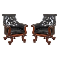 """Pair of 19th Century English """"C"""" Scroll Black Leather Library Armchairs"""