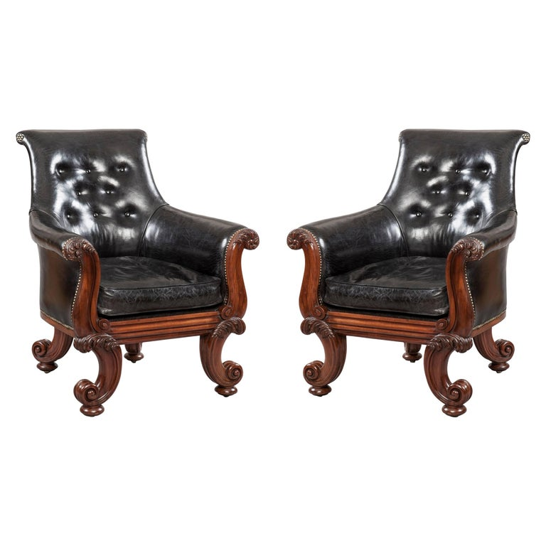 """Pair of 19th Century English """"C"""" Scroll Black Leather Library Armchairs For Sale"""