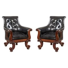 "Pair of 19th Century English ""C"" Scroll Black Leather Library Armchairs"
