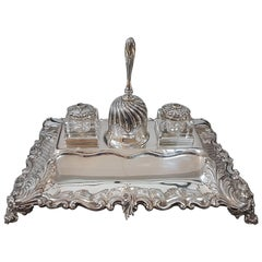 20th Century Italian Sterling Silver Inkstand,hHandicraft made in Italy