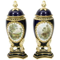 Antique Pair of Graingers Worcester Vases and Covers, circa 1900