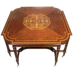 Large and Rare Mahogany Inlaid Edwardian Period Antique Centre Table