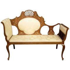 Mahogany and Marquetry Inlaid Edwardian Period Antique Settee