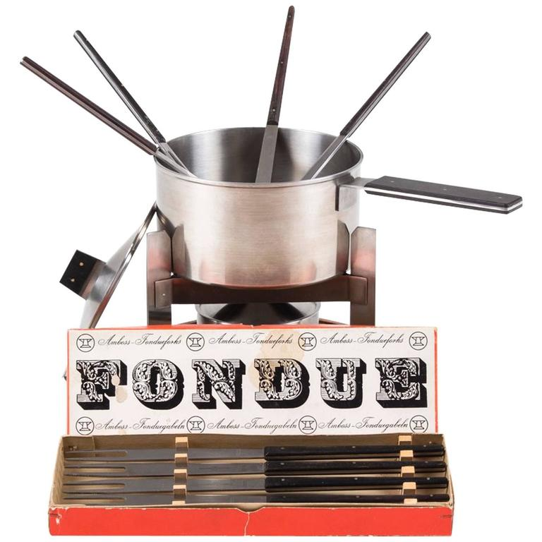 Puristic Fondue-Set by Carl Auböck for Amboss Austria, Vienna, 1960s For Sale