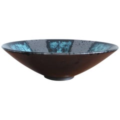 Rare Blue and Flat Black Ceramic Dish by Elchinger, France, 1960s