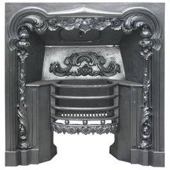 Antique William IV 19th Century Cast Iron Rococo Hob Grate