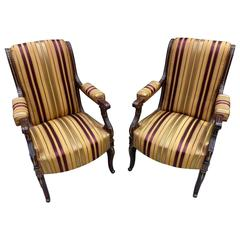 Pair of Early 19th Century French Empire Elbow Chairs
