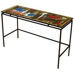 1960s Hand-Painted Ceramic Console or Desk on Black Metal Frame by Belarti
