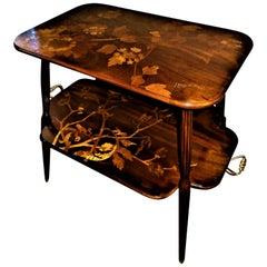 Unique Louis Majorelle French Art Nouveau Marquetry Table, Signed