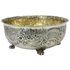 Tiffany Sterling Silver Floral Embossed Bowl with Paw Feet