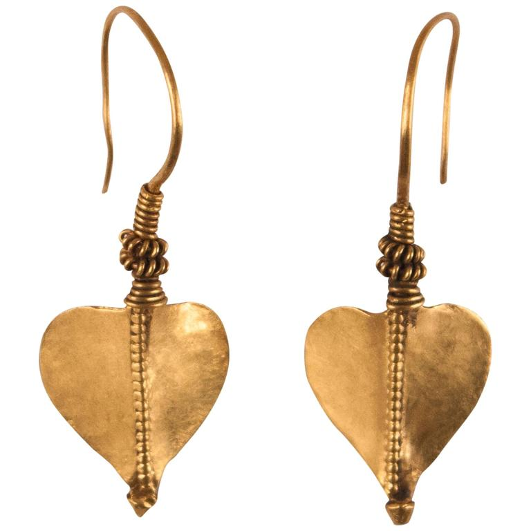 22 Karat Gold Leaf Dangle Earrings From India For
