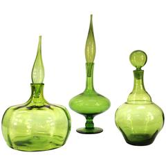 Collection of Three Olive Glass Pieces by Blenko