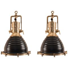 Pair of Mid-Century Brass and Black Ship Deck Lights