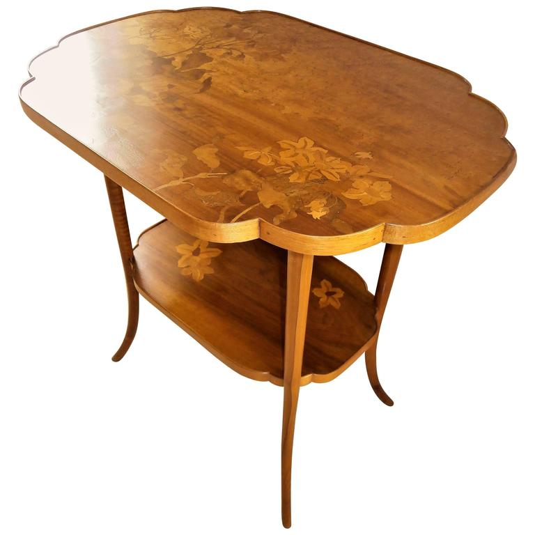 French Art Nouveau Marquetry Gueridon Table, signed by Gallé