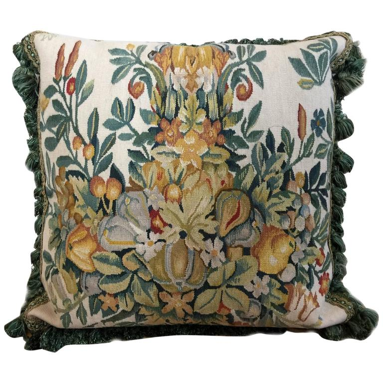 Large Decorative French Tapestry Velvet Pillow Cushion Cover at 1stdibs