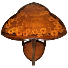 """Charming Majorelle """"Signed"""" Gueridon Marquetry Table, French Art Nouveau"""