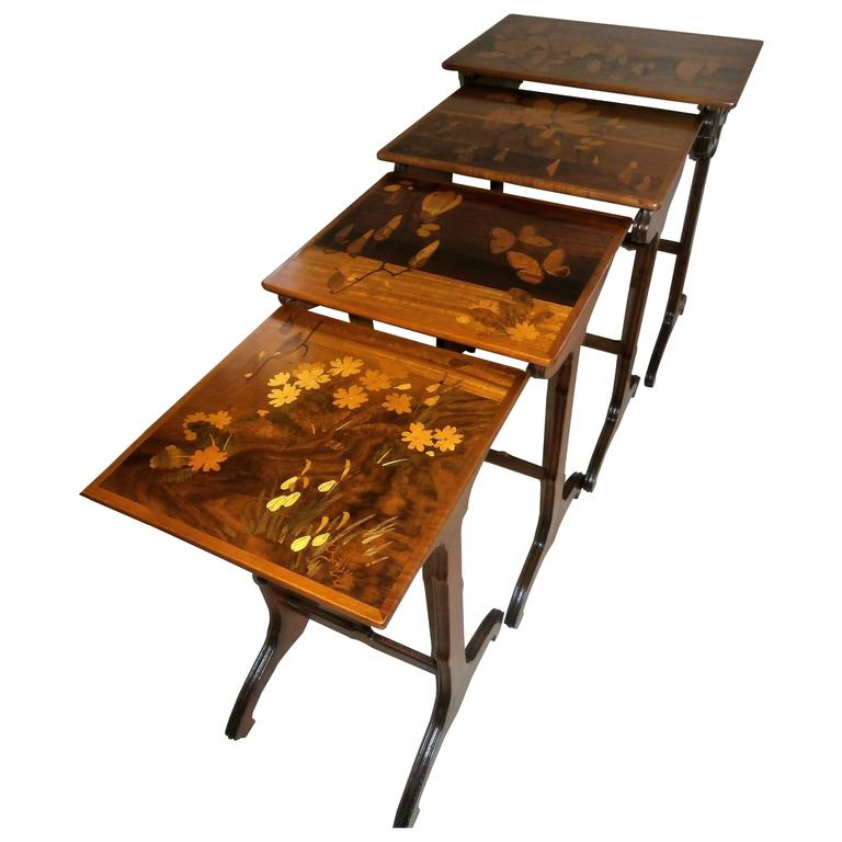 Stunning Art Nouveau Marquetry Nesting Tables Signed by Gallé