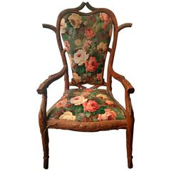 Carved Wood Tree Armchair with Flowers, circa 1900