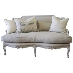 Vintage Painted and Linen Upholstered Louis XV Style Settee Loveseat