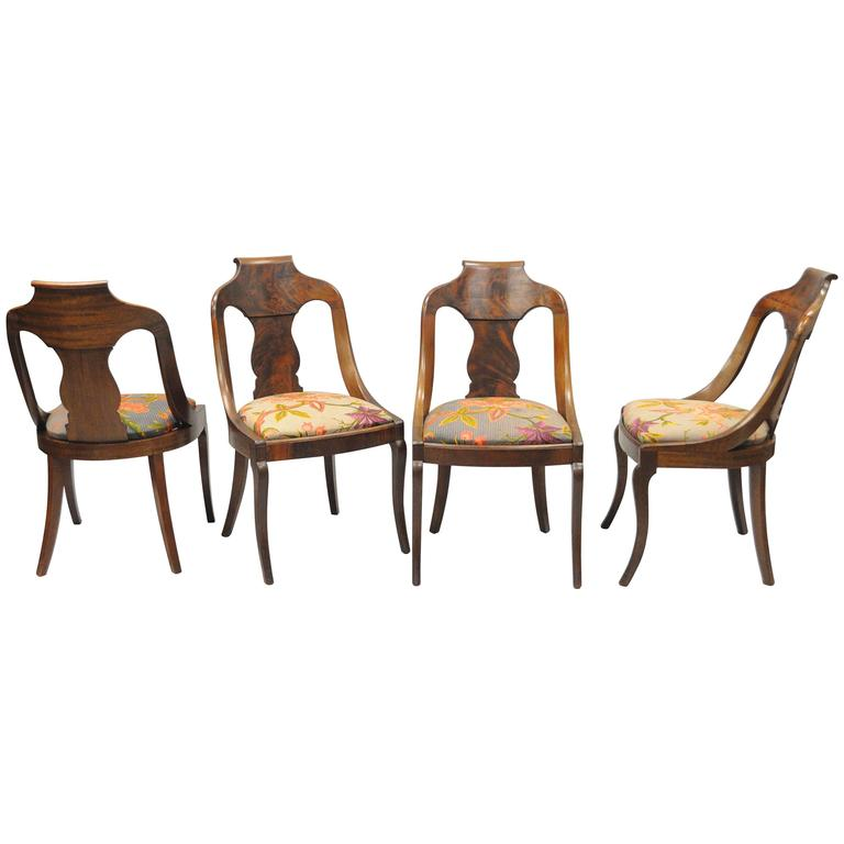 Set Of Four American Empire Crotch Mahogany Gondola Dining Chairs Saber Legs For Sale