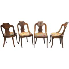 Set of Four American Empire Crotch Mahogany Gondola Dining Chairs Saber Legs